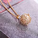 Sumanee Popcorn Chain Irregular Hollow Pendant Sweater Necklace Artificial Pearl Ball