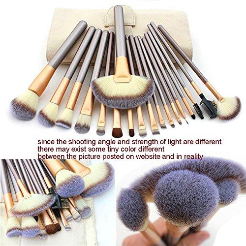 Ammiy� 18 Pcs Makeup Brush Set Professional Wood Handle Premium Synthetic Kabuki Foundation Blending Blush Concealer Eye Face Liquid Powder Cream Cosmetics Lip Brush Tool Brushes Kit ( White Case Bag)