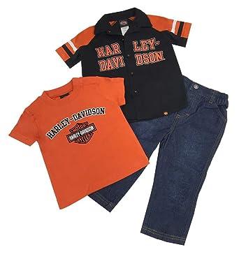 36d2d212f Amazon.com: Harley-Davidson Boys Baby B&S Logo Shop Shirt 3pc Denim ...