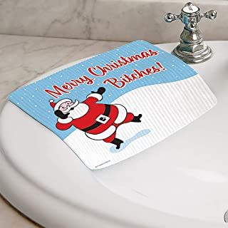 product image for Fiddler's Elbow Hydro Cloth   Set of 2   Christmas Designs   Eco-Friendly Dishcloths   Large Dish Cloths   Paper Towel Replacements (Merry Christmas Bitches)