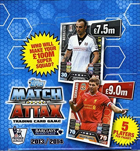 2013/2014 Topps Match Attax Premier League 16 Box Factory Sealed CASE with 800 Packs with 4,000 Cards! Look for All the Premiere League Superstars including Mesut Özi, Steven Gerrard, Wayne Rooney! (800ct Case)