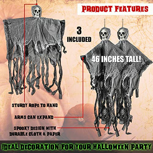 THE TWIDDLERS 3 Hanging Spooky Skeletons Ghosts - up to 70cm Scary Ghouls Hung from Ceiling, Brilliant for Halloween Parties - Perfect Party Decoration