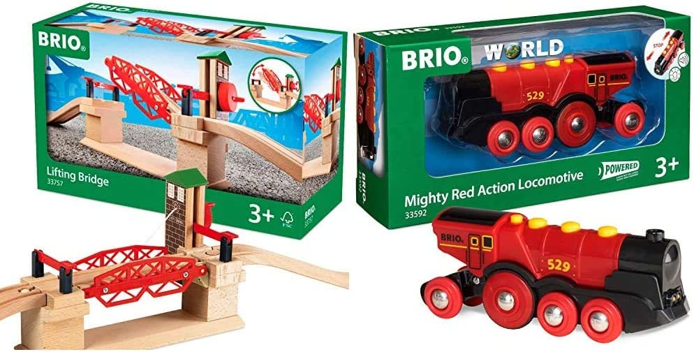BRIO 33757 Lifting Bridge | Toy Train Accessory with Wooden Track for Kids Age 3 and Up & Mighty Red Action Locomotive | Battery Operated Toy Train with Light and Sound Effects for Kids Age 3 and Up