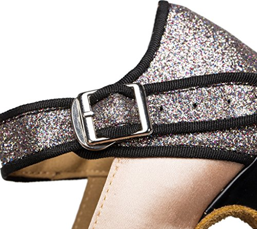 Crc Femmes Élégant Peep Toe Satin Glitter Matériel Salle De Bal Morden Salsa Latin Tango Parti Mariage Professionnel Danse Sandales Peau