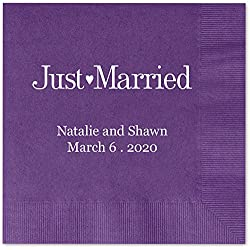 Just Married Personalized Beverage Cocktail Napkins - Canopy Street - 100 Custom Printed Violet Purple Paper Napkins with choice of foil stamp