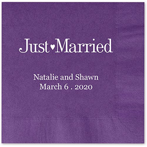 Just Married Personalized Luncheon Dinner Napkins - Canopy Street - 100 Custom Printed Violet Purple Paper Napkins with choice of foil stamp (5176L)