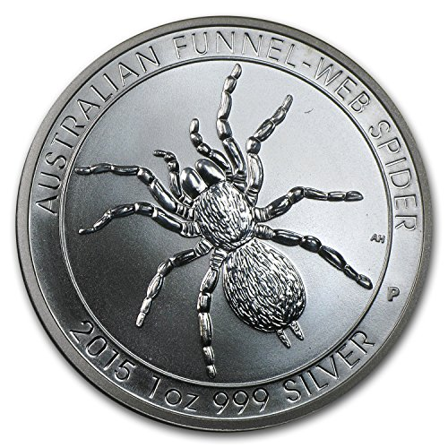 - 2015 AU Australia 1 oz Silver Funnel-Web Spider (Abrasions) 1 OZ Very Good
