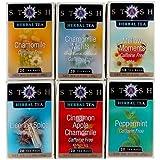 Stash Tea Soothing Herbal Tea Six Flavor Assortment, 18-20 Count Tea Bags in Foil (Pack of 6)