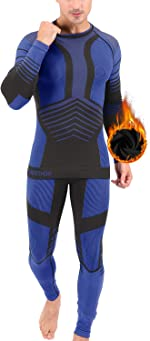 MeetHoo Men's Thermal Underwear Set, Compression Base Layer Sports Long Johns