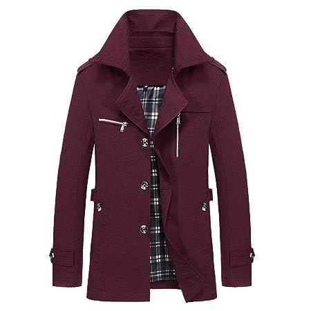 FASHION Uomo Lana Cappotto Invernale Giacca Trench Cappotto Outwear cappotto manica lunga