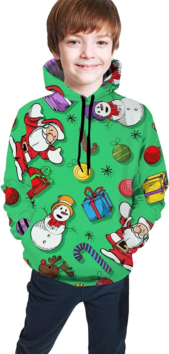 Ts Home Art Christmas Santa Claus Snowmen Teens Hooded Sweate Pullover Drawstring Pocket Warm Coat for Kid