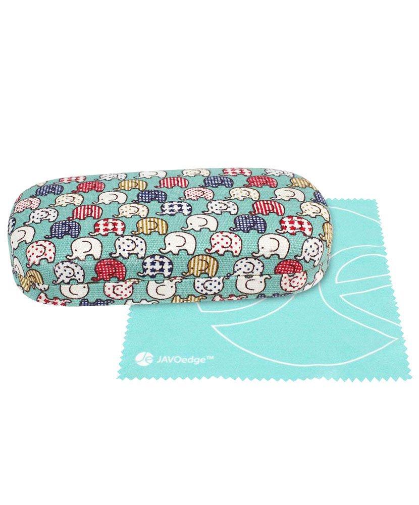 JAVOedge (LARGE) Elephant Print Fabric Covered Clam Shell Style Eyeglass Case w/Bonus Microfiber Glasses Cleaning Cloth