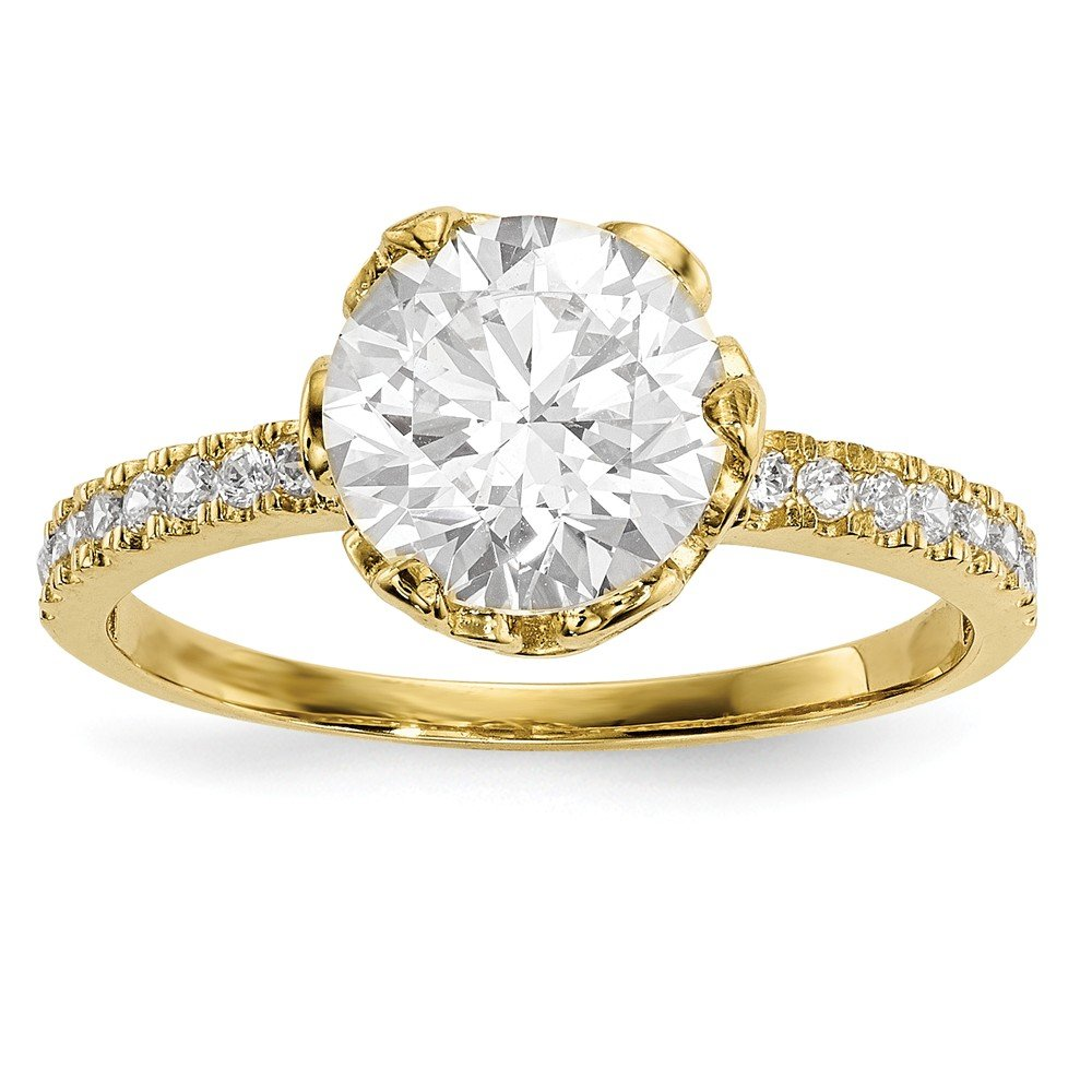 10K Tiara Collection Polished CZ Ring Size 7 Length Width