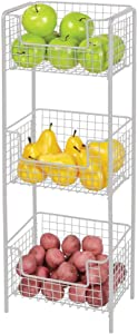 mDesign 3 Tier Vertical Standing Kitchen Pantry Food Shelving Unit - Decorative Metal Storage Organizer Tower Rack with 3 Basket Bins to Hold and Organize Fruit, Potatoes, Snacks - Light Gray