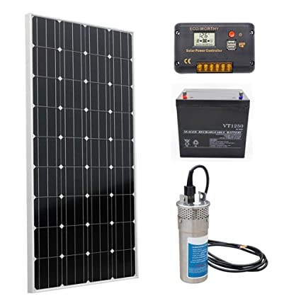 ECO-WORTHY Solar Water Pump System, 160W Mono Solar Panel + 12V Submersible  Pump + 20A Charge Controller + 50A Battery for Deep Well Water Supply