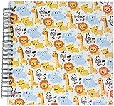 3dRose db_113393_2 beb Safari lindo animlas cebras Leones Jirafas y elefantes de dibujos animados patrn-Libro de Recuerdos, 12 por 12 pulgadas
