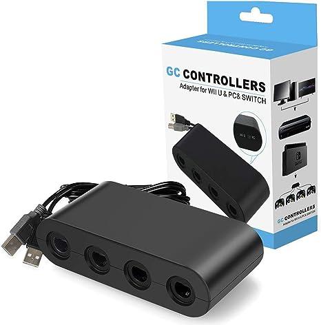 Adaptador de controlador para Gamecube, Super Smash Bros NGC controlador adaptador para Nintendo Switch, Wii U y PC USB con 4 puertos - Plug & Play, no necesita controladores: Amazon.es: Videojuegos