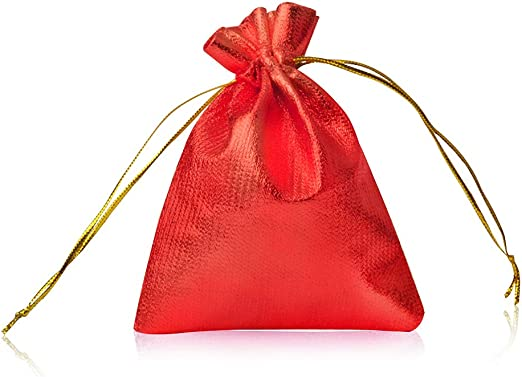 Jewelry Gift Bag Drawstring 7 x 9cm RED WHITE Wedding Gift Bag Favour Pouches