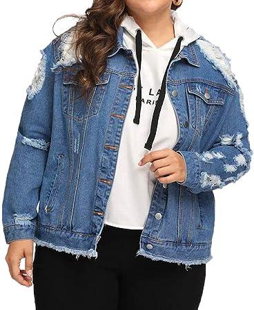 veste en jeans large trouée