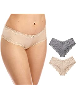08395fd31c29 DOBREVA Women's Low Rise Underwear Sexy Strappy Hipster Cheeky Panties Pack  of 2