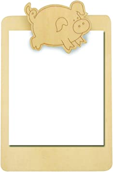 Porte Bloc Notes Avec Pince Cochon En Bois Naturel A Decorer