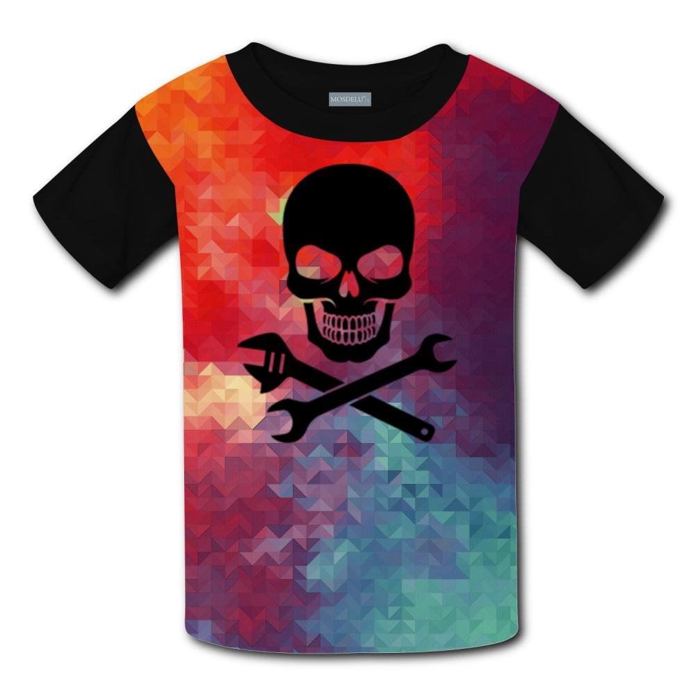 HNkiha Youth Skull Maintenance Tools Casual T-Shirt Short Sleeve for Kids