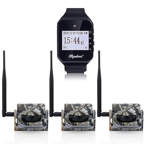 Olymbros Sensores Para Caza Con Alarma en Reloj Alcance Hasta 200m 3 Detectores de Movimiento Con