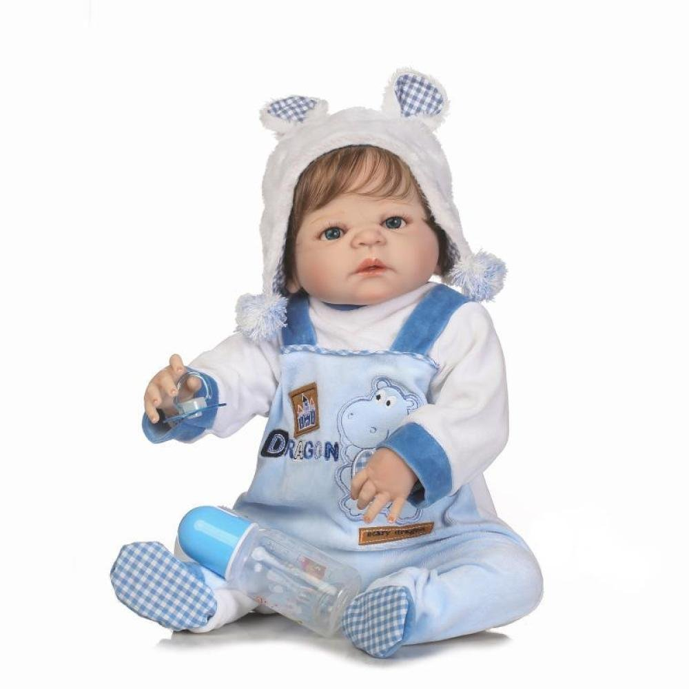 ZJX Simulationspuppe Reborn Nettes Baby des Silikons Kann Das Wasserspielzeugkinder Kreatives Geburtstagsgeschenk 57CM Eintragen
