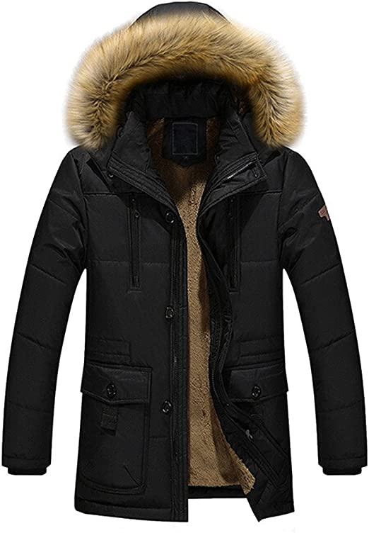 Mens Winter Thicken Warm Cotton Padded Coat Furry Stand Collar Outwear Jacket SZ