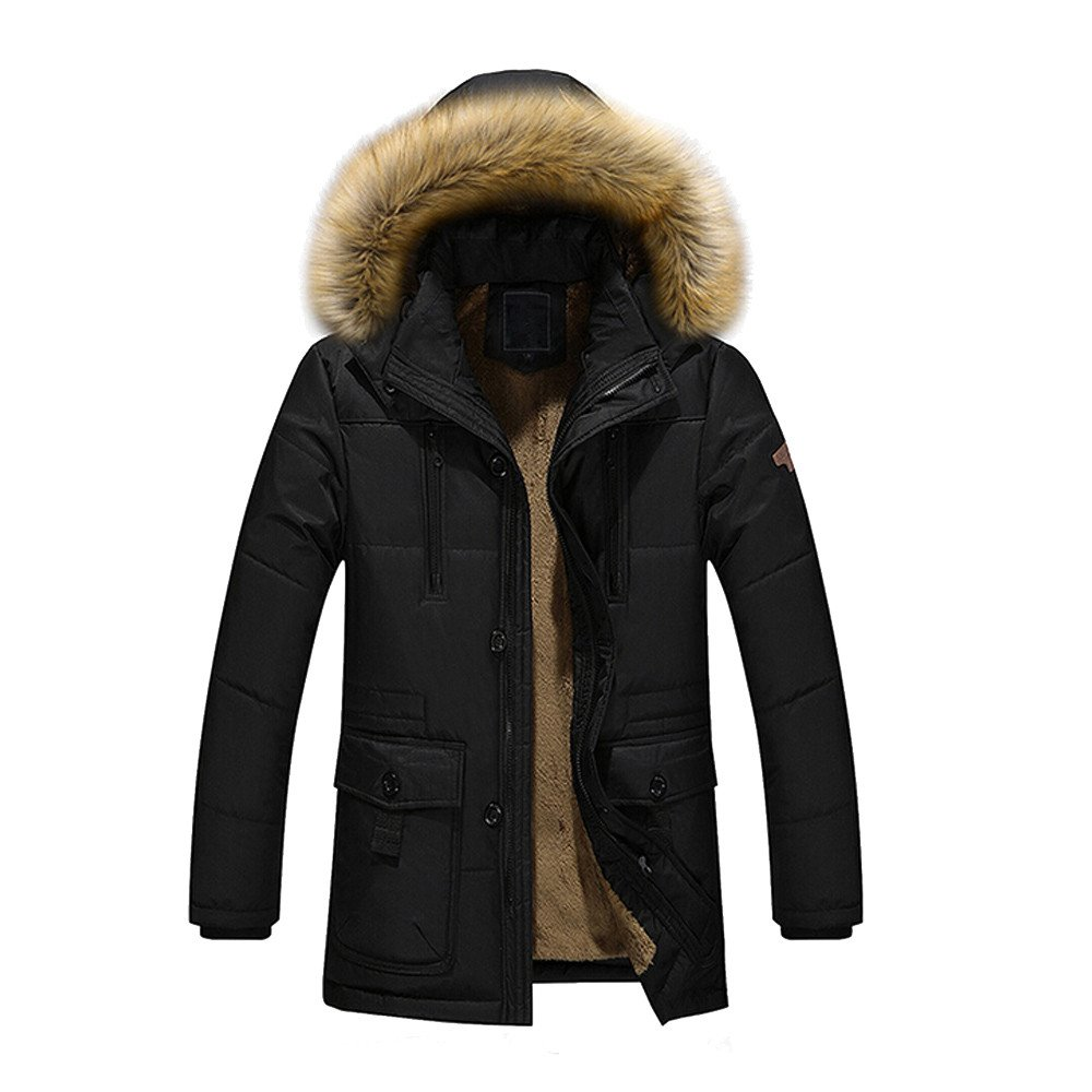 GOVOW Warm up Jackets for Men Down Cotton Fur Collar Thick Winter Hooded Coat Outwear Parka(L,Black)