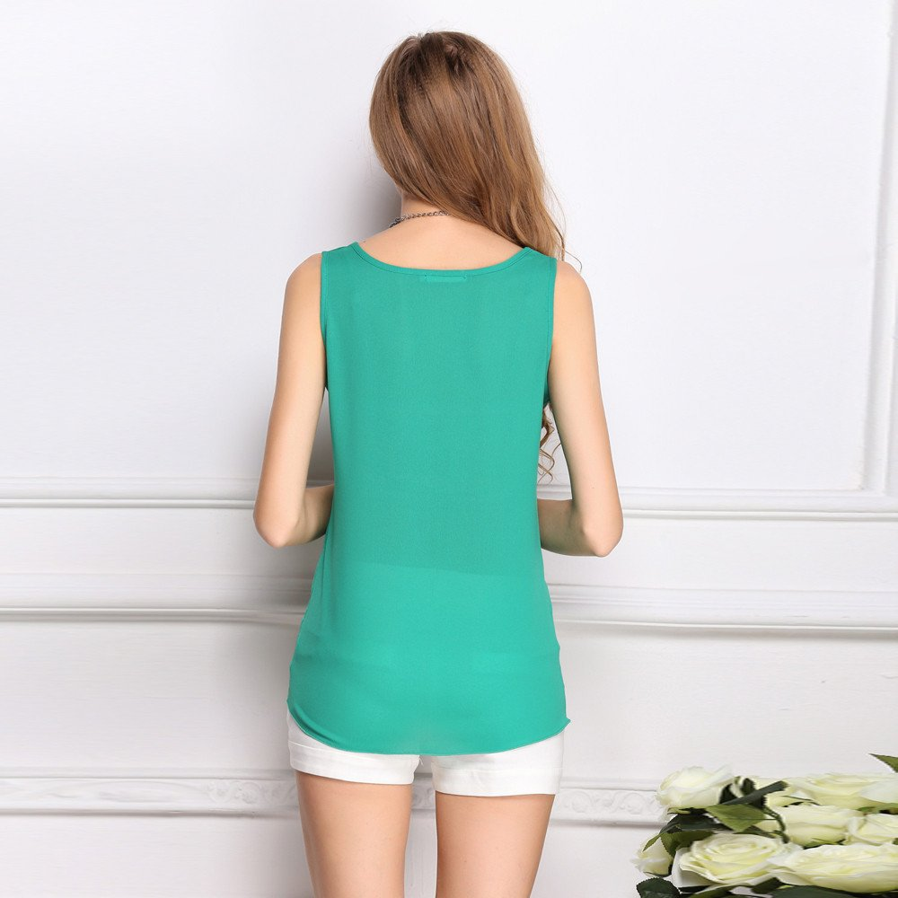 JFLYOU Basic Tank Top for Women,Loose Chiffon Sleeveless O Neck Solid Shirt Tops(Green,XXXL) by JFLYOU-tank top (Image #2)