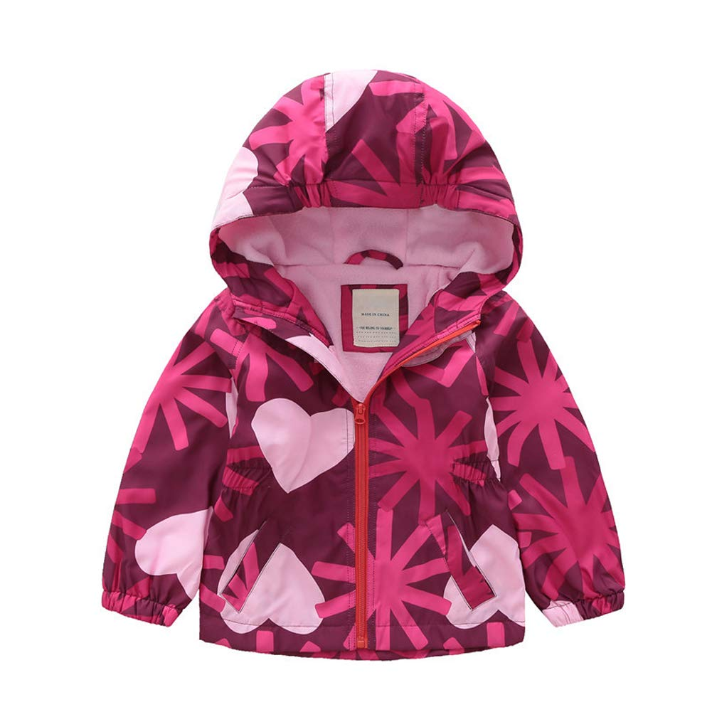 Max Hsuan Little Girls Waterproof Warm Hooded Jacket Fleece Lined Coat Outwear Printed Raincoat School Wear