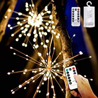 Cadena de Luces, 200 LED Fuegos Artificiales Luces Hadas (Funciona Batería) 8 Modos de Iluminación con Control Remoto…
