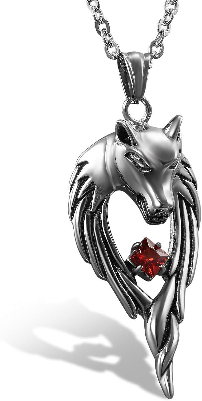 Männer Wolfzahn Wolfkopf Halskette lederkette Kette Anhänger Geschenk nue