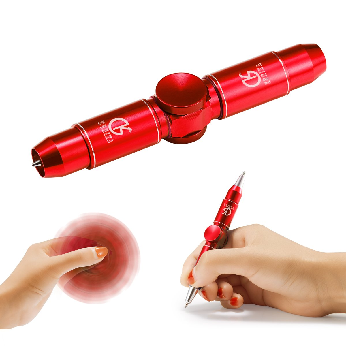 Kumika Hand Fidget Pen, Thinking Pen 2nd Generation, Fidget Spinning Metal Hand Toy, Stress Relief, Perfect for ADD, ADHD, Anxiety, with Gift Box for Kids Adults Time Killer (Red)