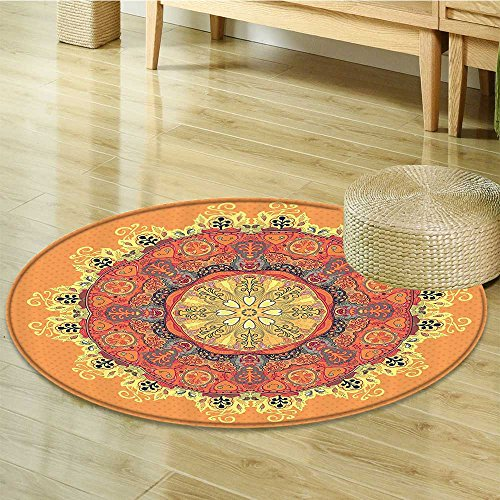 Collection Rugs Kaleidoscope (Nalahomeqq Mandala Decor Collection Floral Mandala Pattern with Leaves Kaleidoscope Art Ethnic Theme Home Zen Decor Polyester Fabric Room Circle carpet non-slip Orange Yellow Red-Diameter 70cm(28