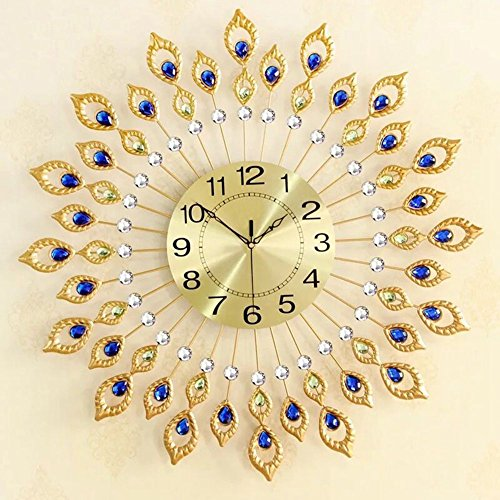 NEOTEND 3D Wall Clock 80pcs Diamonds Decorative Clock Diameter 26.4