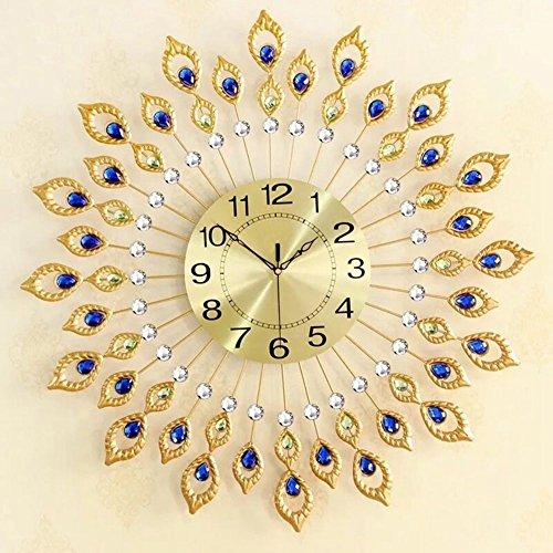 NEOTEND 3D Wall Clock 80pcs Diamonds Decorative Clock Diameter - Gold Frame Large Extra