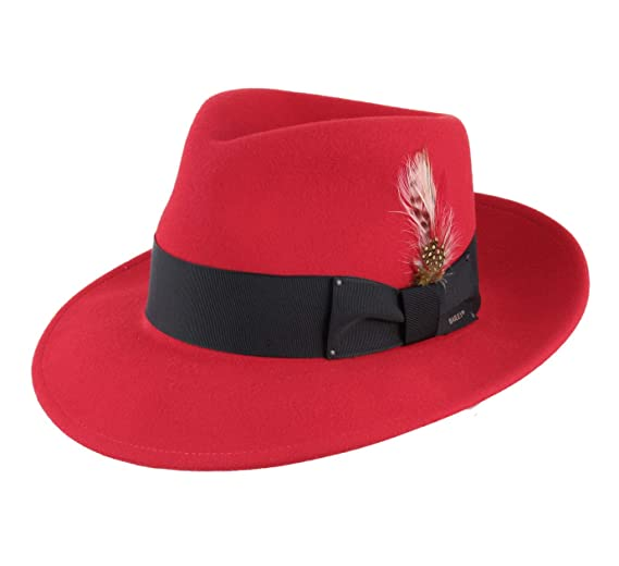 8a58baf46f0 Bailey of Hollywood Men s Fedora Wool Felt Fedora Hat Packable Size S Red