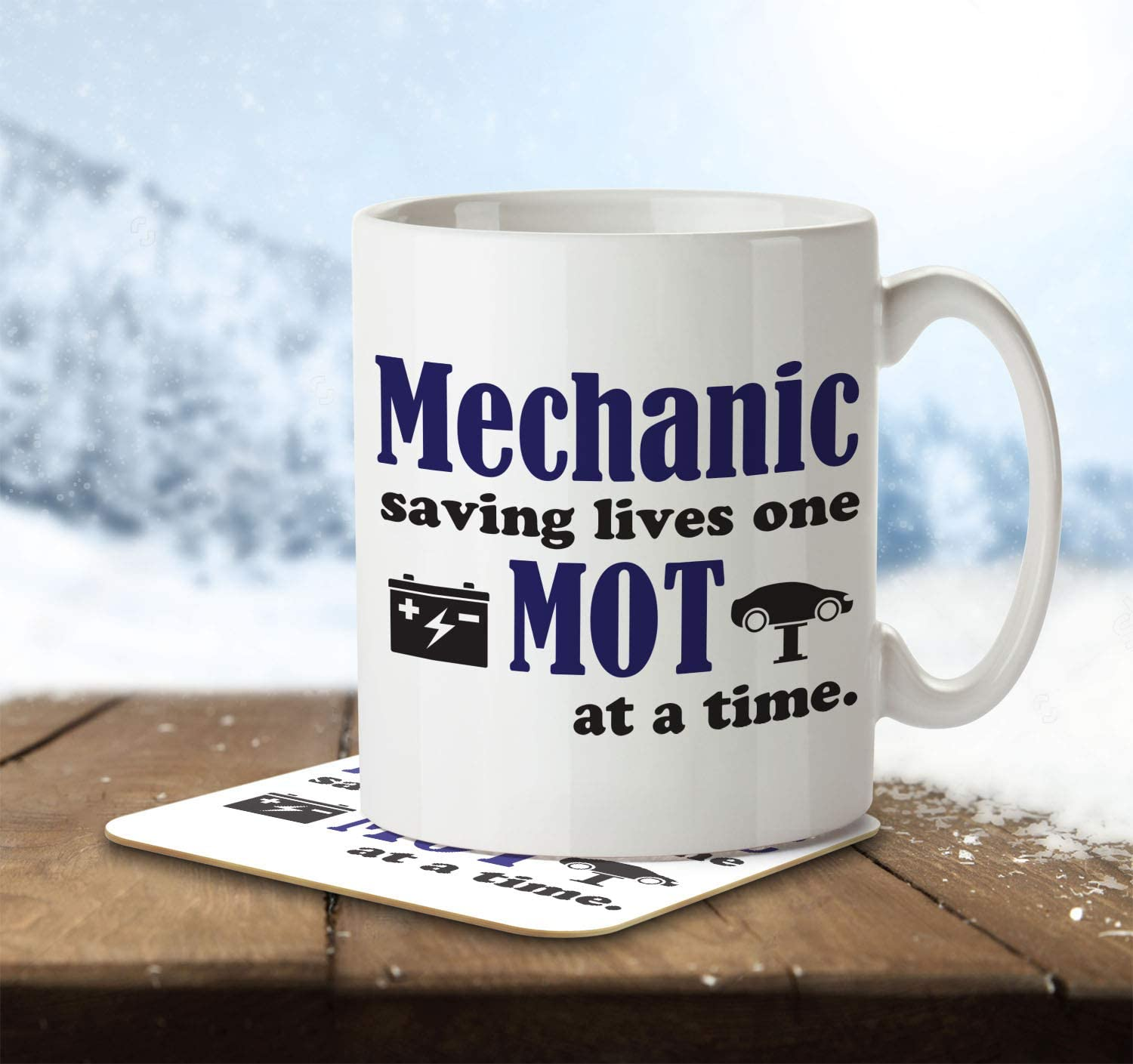 Mug and Coaster by Inky Penguin Mechanic Saving Lives One MOT at a Time