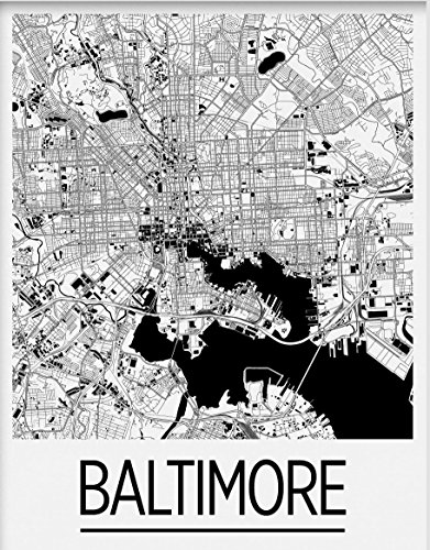 I Like Maps - Baltimore, MD Black & White Art Deco City Map Print/Poster (11
