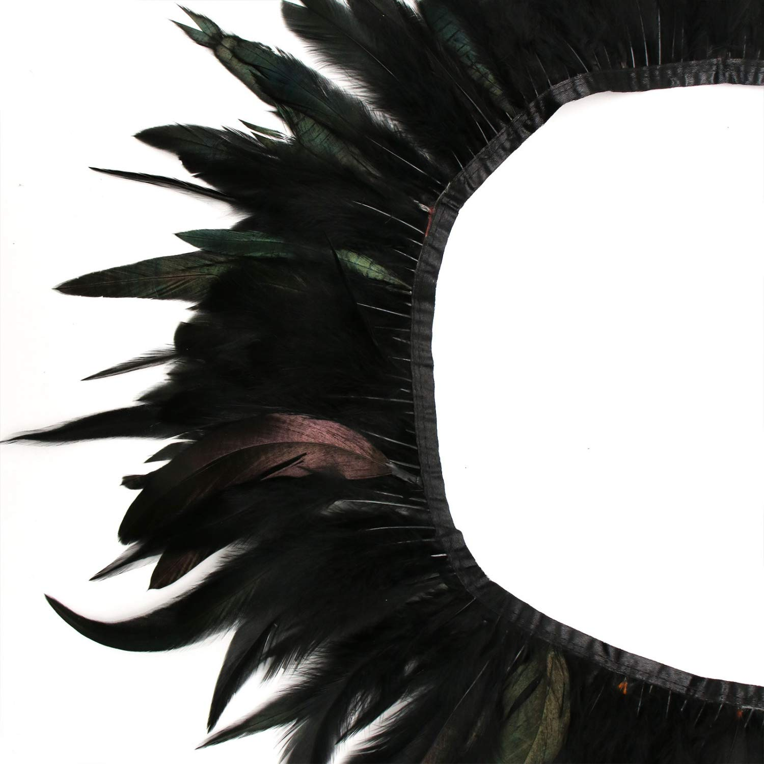 2 Yards Rooster Hackle Feather Fringe Trim 5-7 inches Width