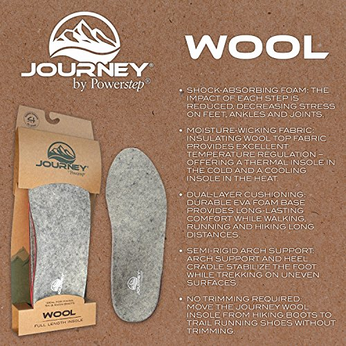 Powerstep Journey Wool Shoe Insoles – Cushioned, Shock-Absorbing Shoe and Boot Inserts for Men and Women