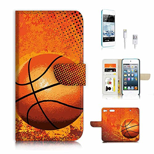 ( For ipod 6, itouch 6, touch 6 ) Flip Wallet Case Cover & Screen Protector & Charging Cable Bundle! A4283 Basketball