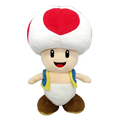 "Sanei Super Mario All Star Collection 7.5"" Toad Plush, Small: Toys & Games"