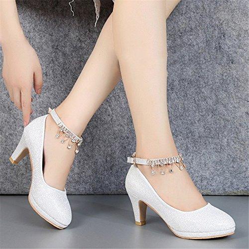 A Silver Con Lady Crystal Zapatos Novia De Y Hxvu56546 Otoño La Temporada El Primavera Altos Tacones Nuevo 08vwxafqZw