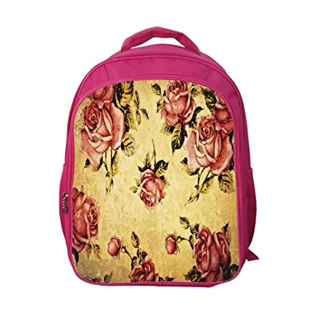 9a7493838c8f iPrint School Bags Kid's Backpacks Custom,Roses Decorations,Old Fashioned  Victorian Style Rose Pattern