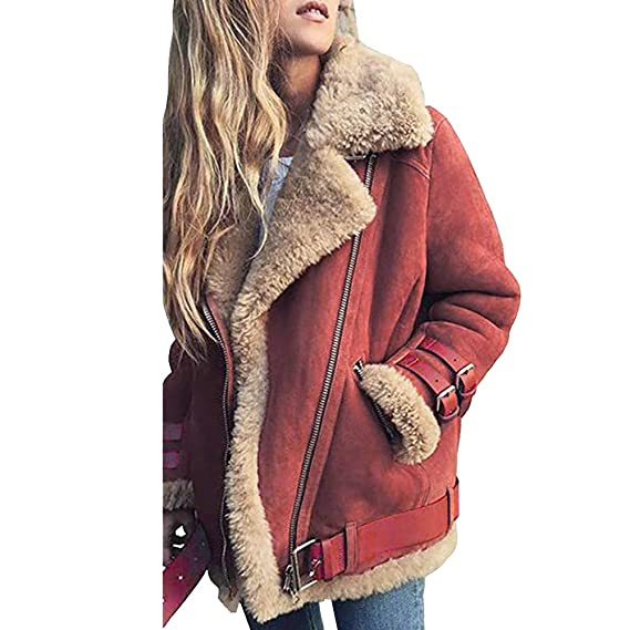 Wintermantel Lilicat Damen Pullover Winterjacke Retro Strickjacke Warm Künstlich Vintage Wollmantel Zipper Jacke Winterparka Elegant Oberbekleidung
