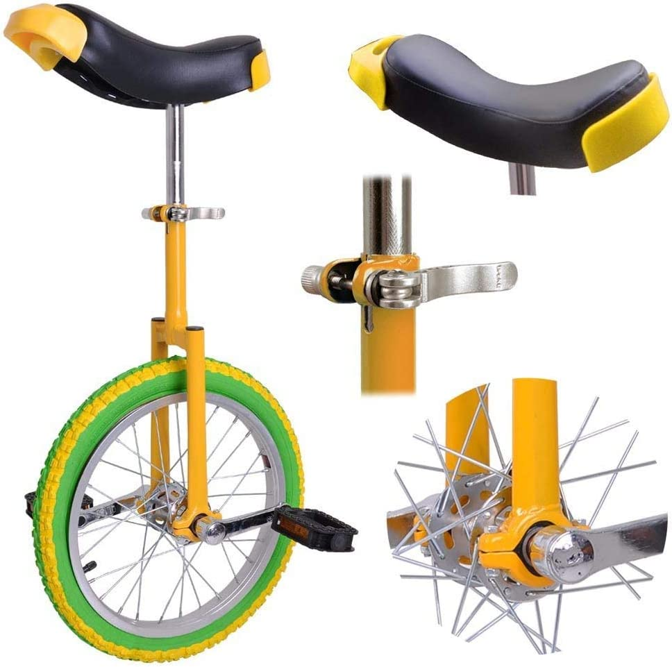 "6025006679 16"" Wheel Unicycle Comfort Saddle Seat Skid Proof Tire Chrome 16 Inch Steel Frame Yellow Green Bike Cycle 61X8VVkgv2L"