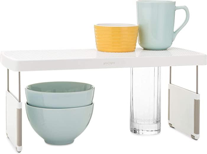 "YouCopia StoreMore Riser Adjustable Kitchen Shelf Organizer, 17"", White"